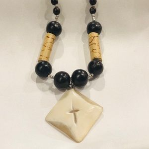 Diamond Shape w Cross Wood n Stone Beaded Necklace